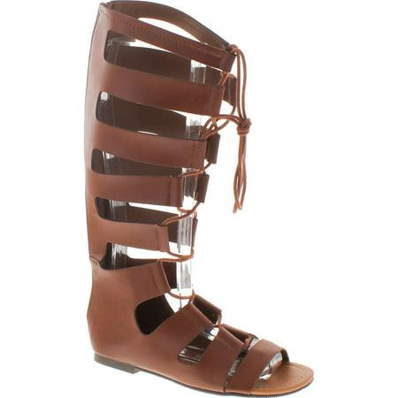 Soda Women's Reanna Open Toe Lace Up Gladiator Knee High Flat Sandal, Tan,