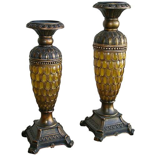 ORE International Candleholders, Set of 2, Antique Bronze