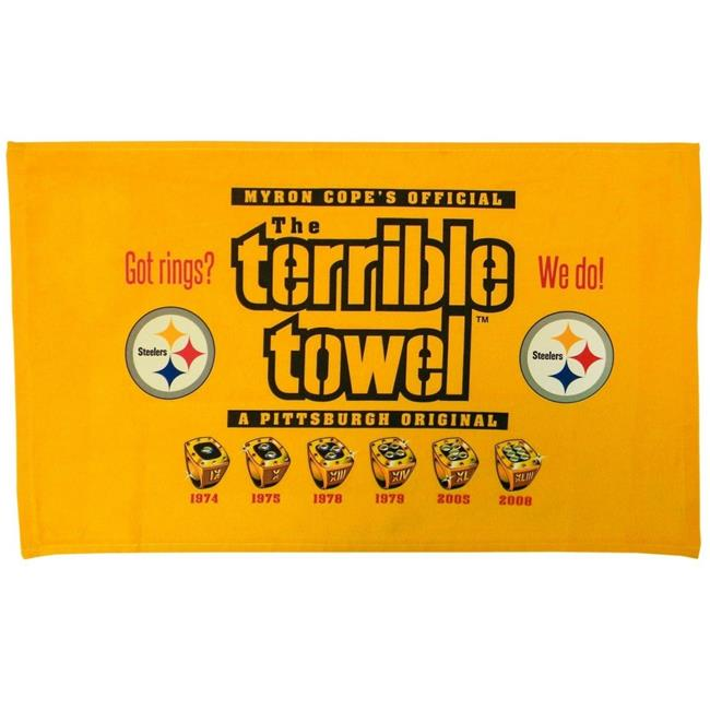 Creative Sports SW-TOWELS-STEELERS-RINGS Pittsburgh Steelers Terrible Towel Got Rings 6X Super Bowl Champions