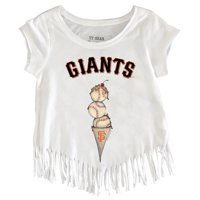 San Francisco Giants Tiny Turnip Girls Toddler Fringe T-Shirt - White