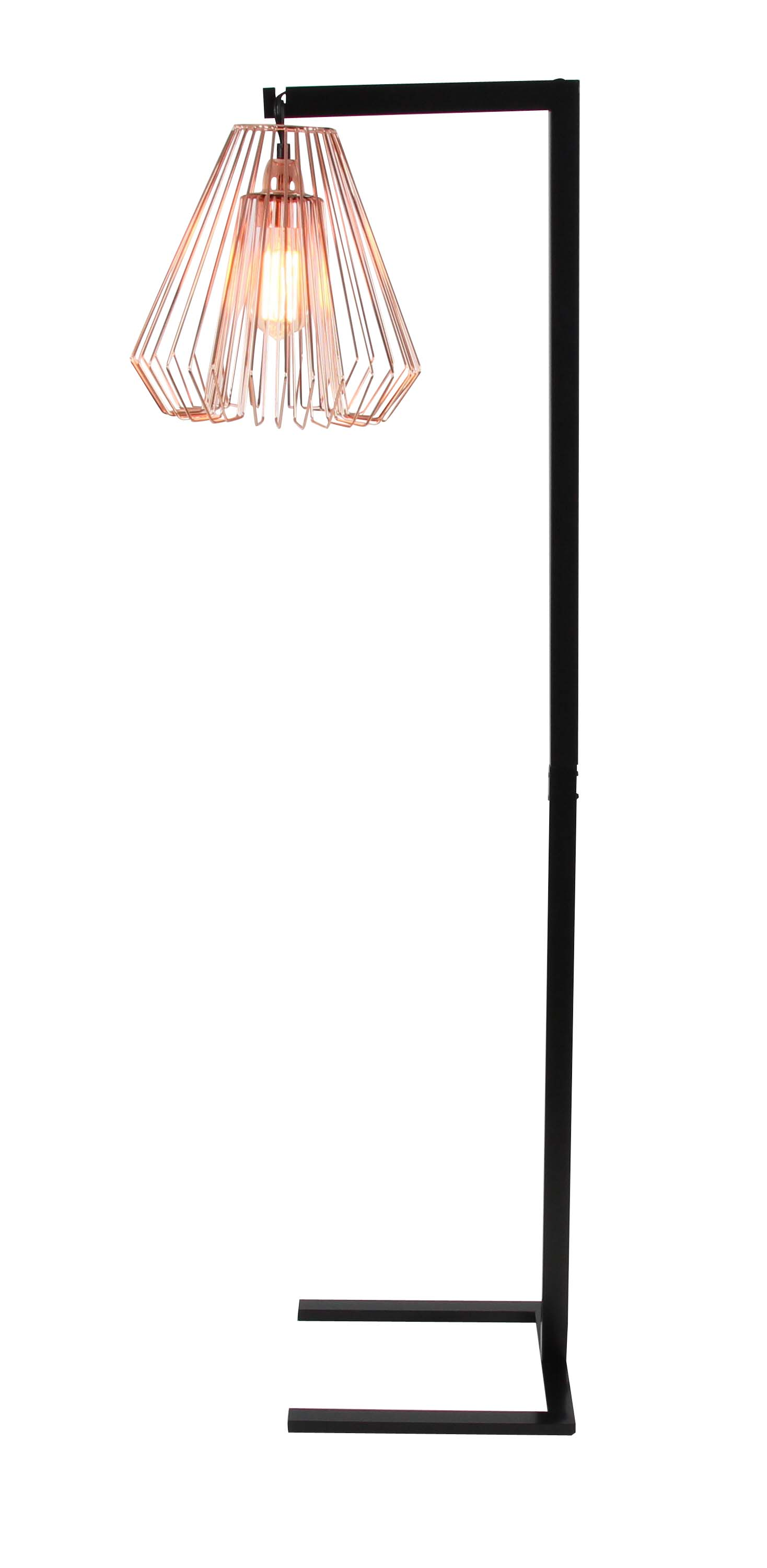 Remarkable Decmode Contemporary 55 Inch Wire Grid Metal Floor Lamp Black Wiring Digital Resources Talizslowmaporg