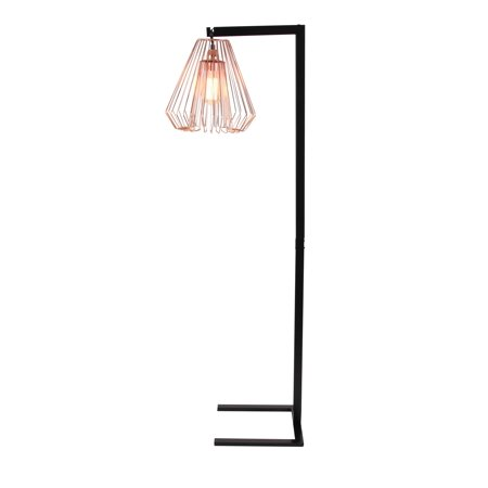 Decmode Contemporary 55 Inch Wire Grid Metal Floor Lamp Black