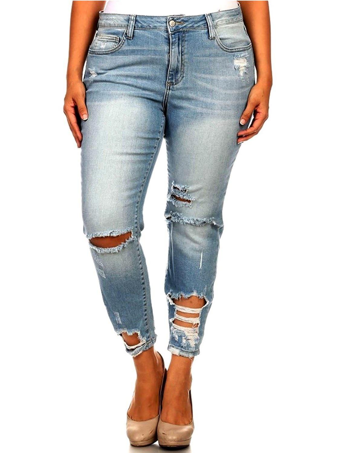 Jack David WOMENS PLUS SIZE Sexy Boyfriend Denim Jeans Ripped Distressed strech pants WV74422P