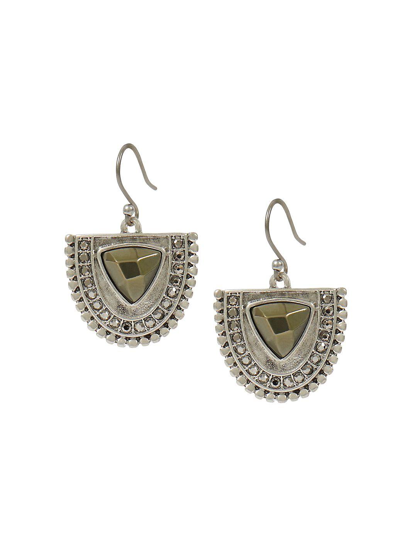 Modern Opulence Silvertone Half-Circle Pave Drop Earrings