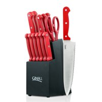 Ginsu Essential Series 14-Piece Stainless Steel Serrated Knife Set - Cutlery Set with Red Kitchen Knives in a Black Block, 03887DS
