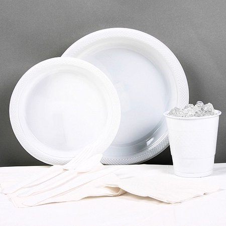 White Plastic Tableware Party Pack for 20