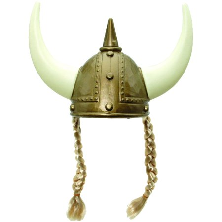 Adult's Or Child's Viking Helmet and Horns With Braids Costume Accessory - Plastic Devil Horns