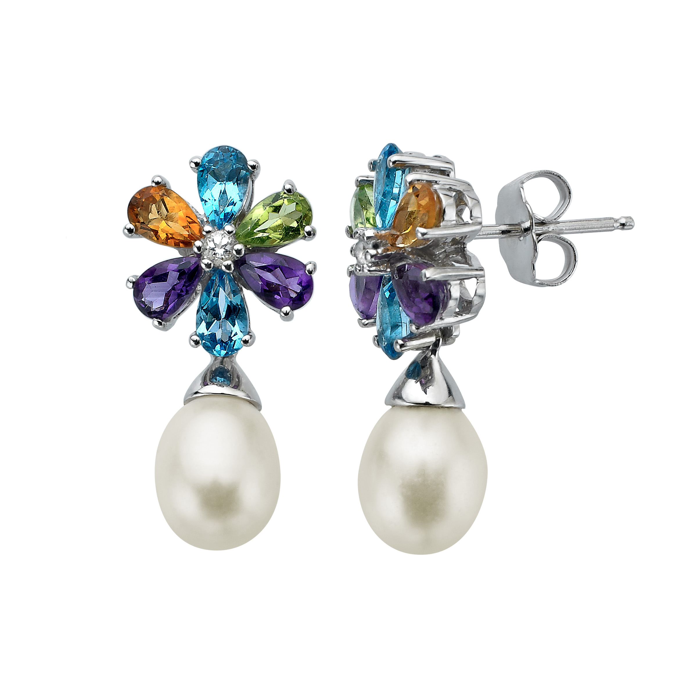 2 3/4 ct Multi-Stone & Freshwater Pearl Drop Earrings in Sterling Silver
