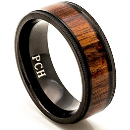Black Titanium Wedding Band Hawaiian Koa Wood Inlay Milgrain Edge Comfort Fit (11.5)