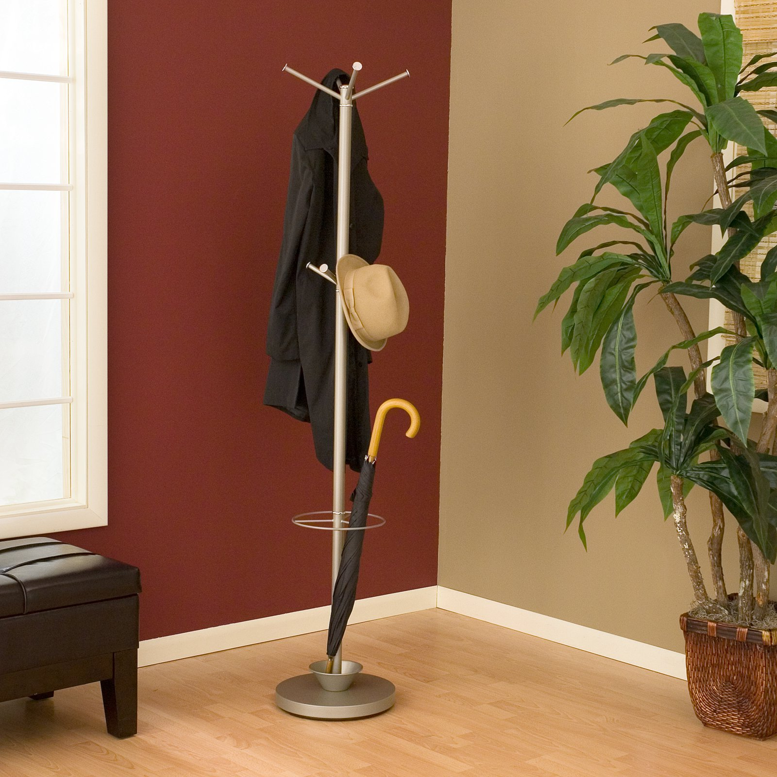 Quatro Umbrella Stand/Coat Rack, Brushed Steel