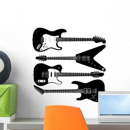 Electric Guitars Detailed Vector Wall Decal by Wallmonkeys Peel and Stick Graphic (18 in H x 18 in W) WM76764