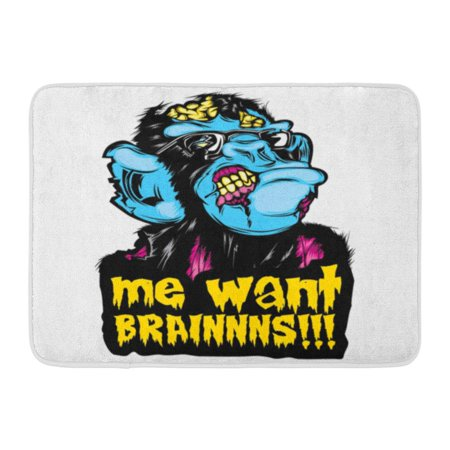 GODPOK Mascot Scary Zombie Monkey Chimp Colorful Pop Culture Halloween Sticker Me Want Brainnns Death Animal Rug Doormat Bath Mat 23.6x15.7 inch](Scary Halloween Pop Ups)