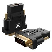 HDMI to DVI Adapter, WOLLZ Gold-Plated HDMI (Female) to DVI-D (Male) Adapter Converter 2 Pack (Black)