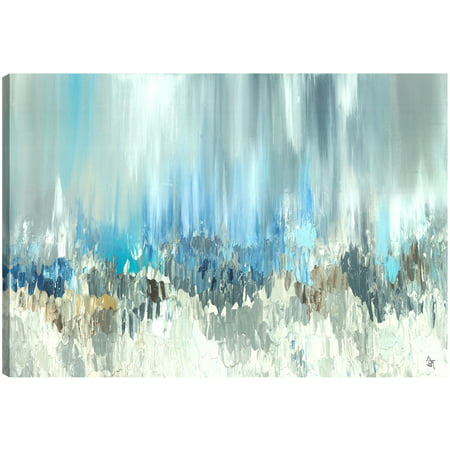 Finished Canvas (ArtMaison Canada Blue Visuals Abstract Gel Brush Finish Canvas Wall Art Décor Gallery Wrapped 30X40 Ready to)