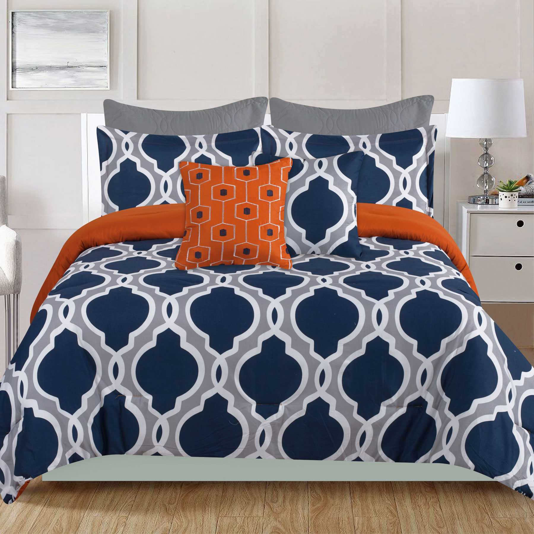 queen comforter 7 piece bedding set navy blue and gray quatrefoil with orange