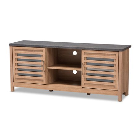 Baxton Studio Pacific Modern and Contemporary Light Brown and Grey Two-Tone Finished 59-Inch TV stand