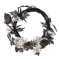 Halloween Wreath: Black/White, 22 inches