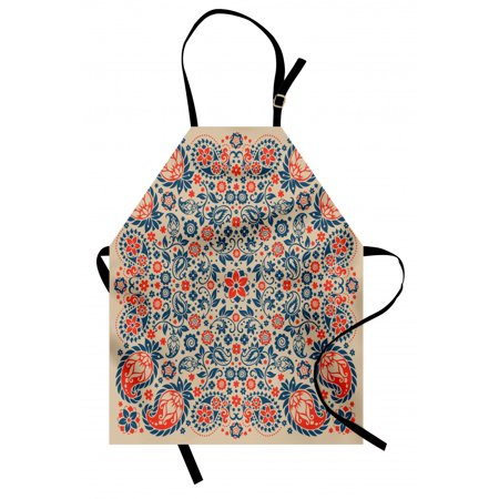 Paisley Apron Arabesque Floral Ornate Pattern Cultural Folk Persian Middle Eastern, Unisex Kitchen Bib Apron with Adjustable Neck for Cooking Baking Gardening, Orange Night Blue Tan, by Ambesonne