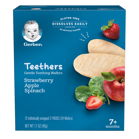 Gerber Teethers, Gentle Teething Wafers, Strawberry, Apple & Spinach, 1.7 oz Box, 12 Count (Pack of 6)