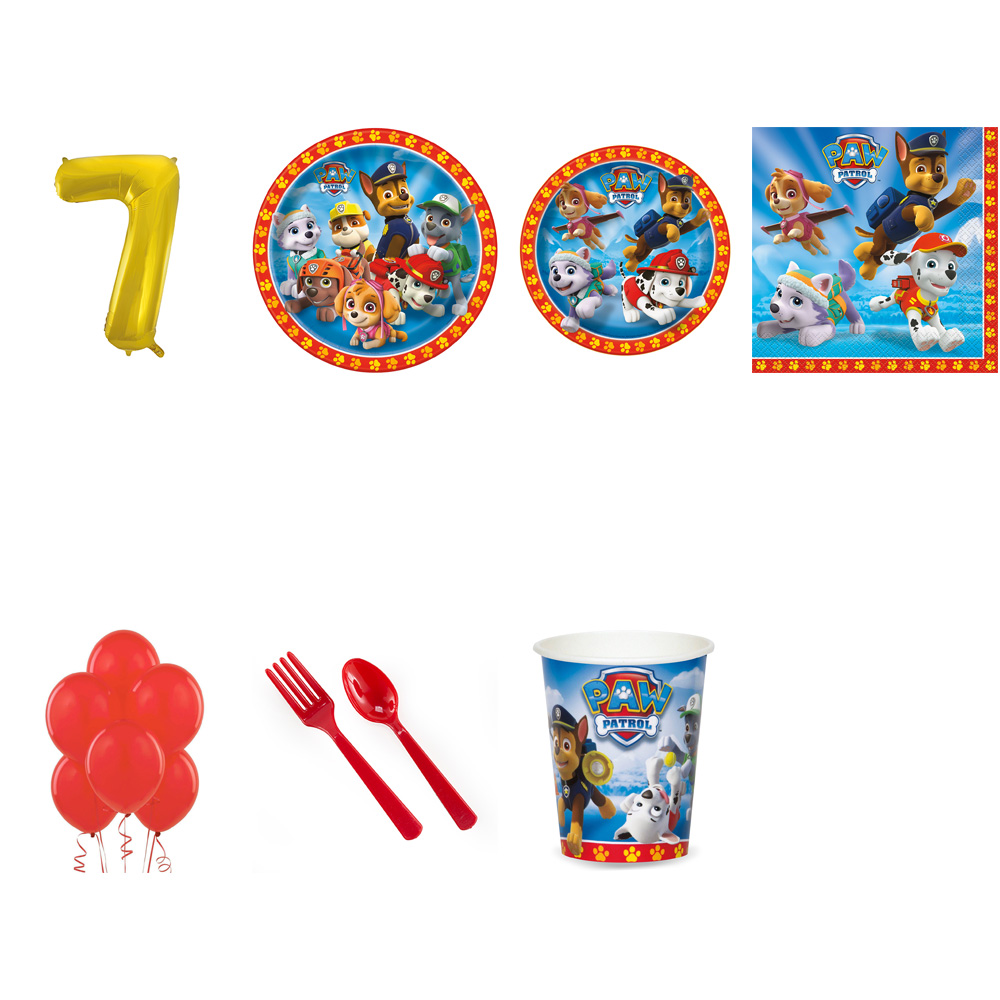 PAW PATROL PARTY SUPPLIES PARTY PACK FOR 16 WITH GOLD #7 BALLOON