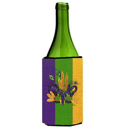 Carolines Treasures 8364LITERK Mardi Grass Feathered Mask Wine bottle sleeve Hugger - 24 oz. - image 1 de 1