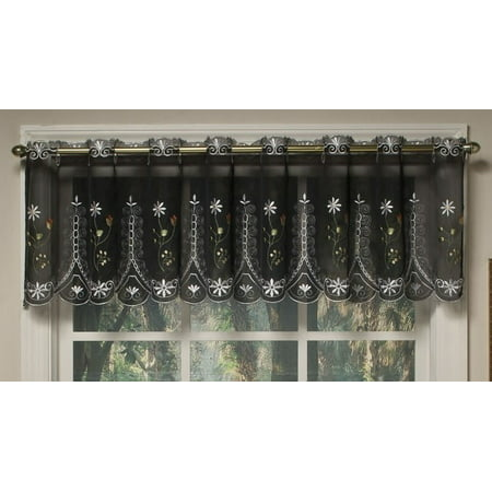 Samantha embroidered sheer black kitchen curtain (Embroidered Blank)
