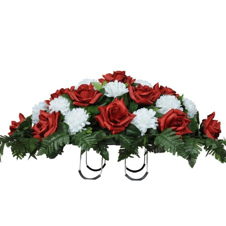 Red Roses and White Carnations Silk Saddle Arrangement by Sympathy Silks® (Best Flowers To Plant At Cemetery)