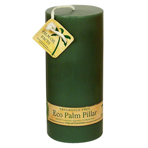 Aloha Bay Unscented Eco Palm Wax Green Pillar Candle - 6 Ea