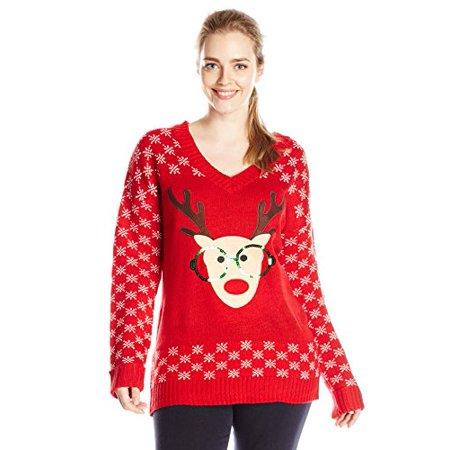 6765db3f8a1 Derek Heart - Derek Heart Junior s Plus-Size Nerdy Reindeer With Sequin Ugly  Christmas Sweater