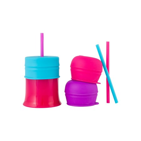 Boon Snug Lids, Straws & Cup, Universal Silicone Lids, Blue, Orange & Green, 3 Pk