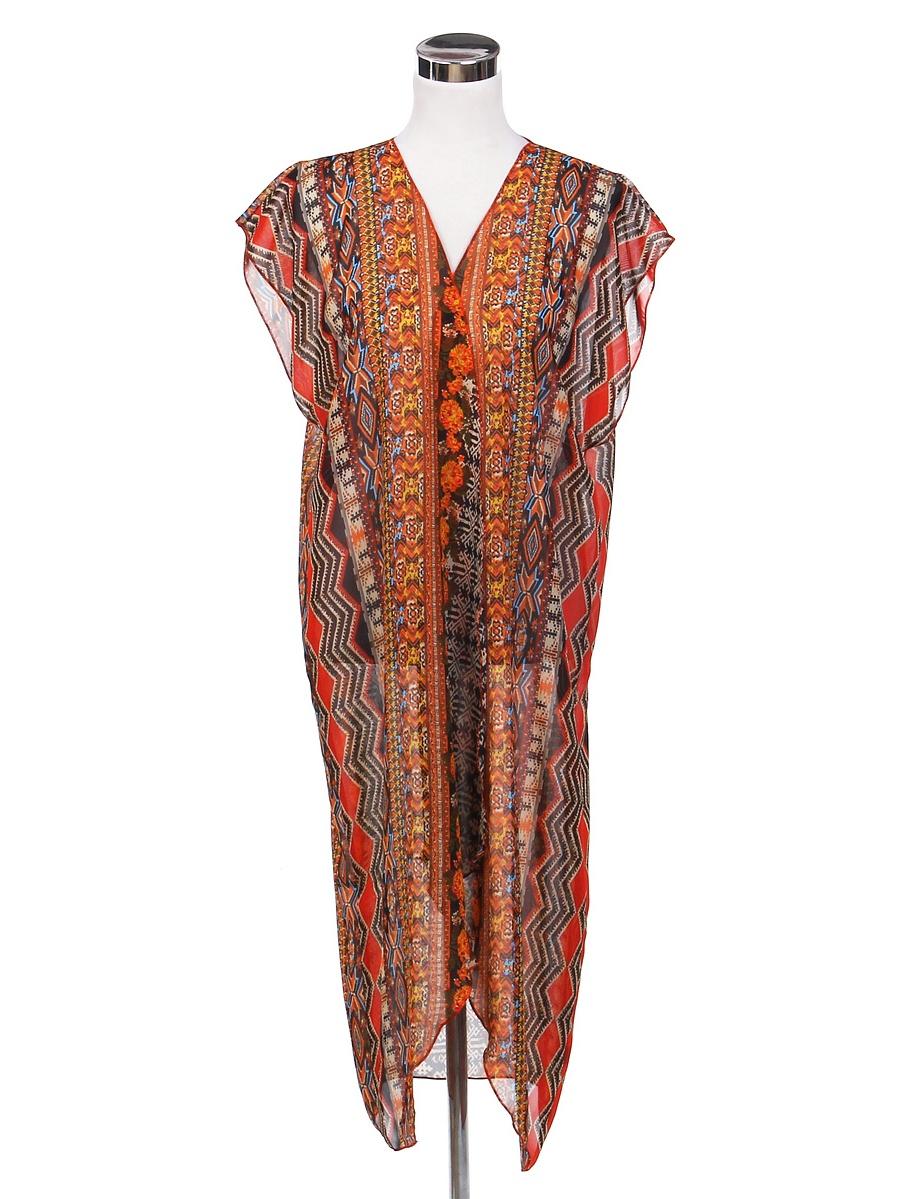 TrendsBlue Long Bohemian Tribal Chiffon Sheer Kimono Wrap Vest Beach Cover Up
