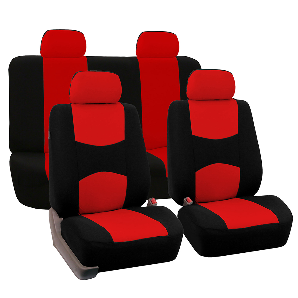FH Group Universal Flat Cloth Fabric Car Seat Cover, Full Set, Red and Black