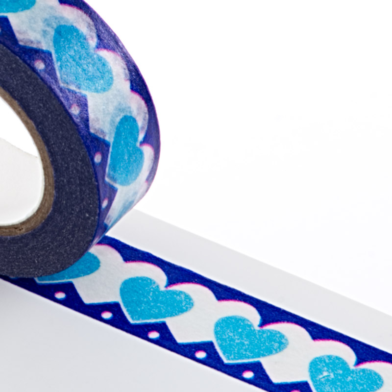 9/16 X 10 Yards Blue Hearts Washi Tape  by Paper Mart