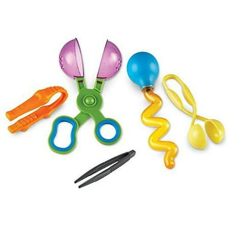 Set of 5 Handy Scoopers Tongs and Tweezers for Children - Fine Motor Tools, Occupational Therapy, Special Needs, Sensory Bin, Preschool Tools