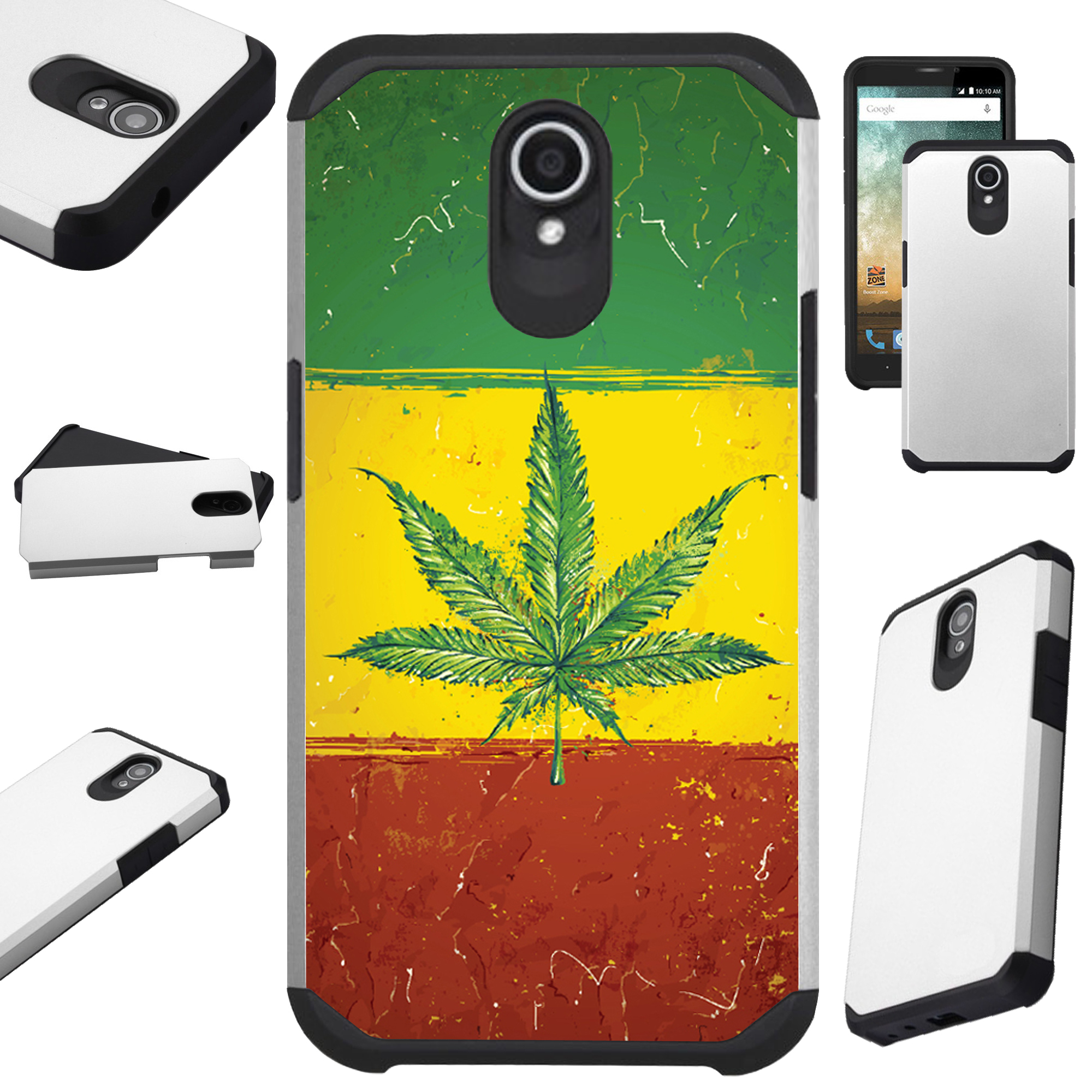 For Alcatel idealXTRA | 1X Evolve (2018) | TCL LX Phone Case Hybrid Fusion Cover (Weed Nation Flag)
