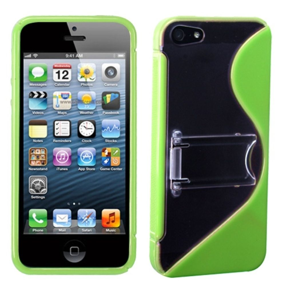 Insten S Shape Hard Plastic TPU Cover Case w/stand For Apple iPhone 5/5S/SE - Green