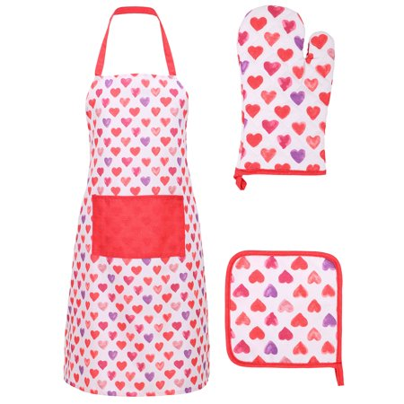 Chefs Apron Printed 3 Pieces Apron Oven Mit Pot Holder Set,I Love (Chefs Apron Oven Mitt)