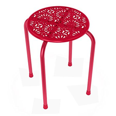 Superb Dar Living Daisy Stackable Metal Stool Red Set Of 2 Pdpeps Interior Chair Design Pdpepsorg