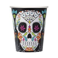 Skull Day of the Dead Paper 9oz Cups, 8ct