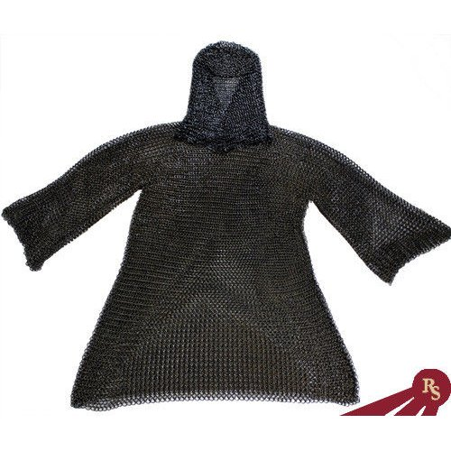 Uma Enterprises Black Chainmail Medieval Costume Armor and Coif Set