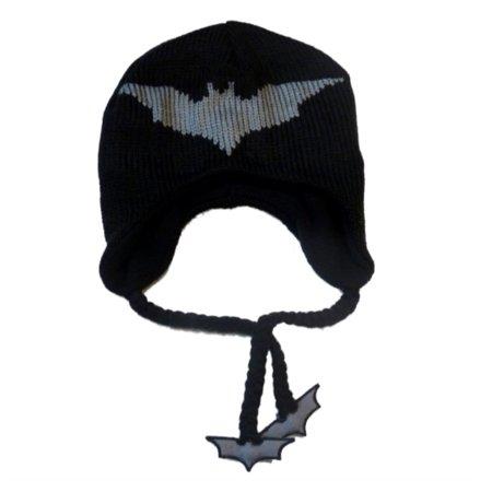 Marvel Comics Mens Black Batman Knit Peruvian Trapper Hat With Bat Tassels