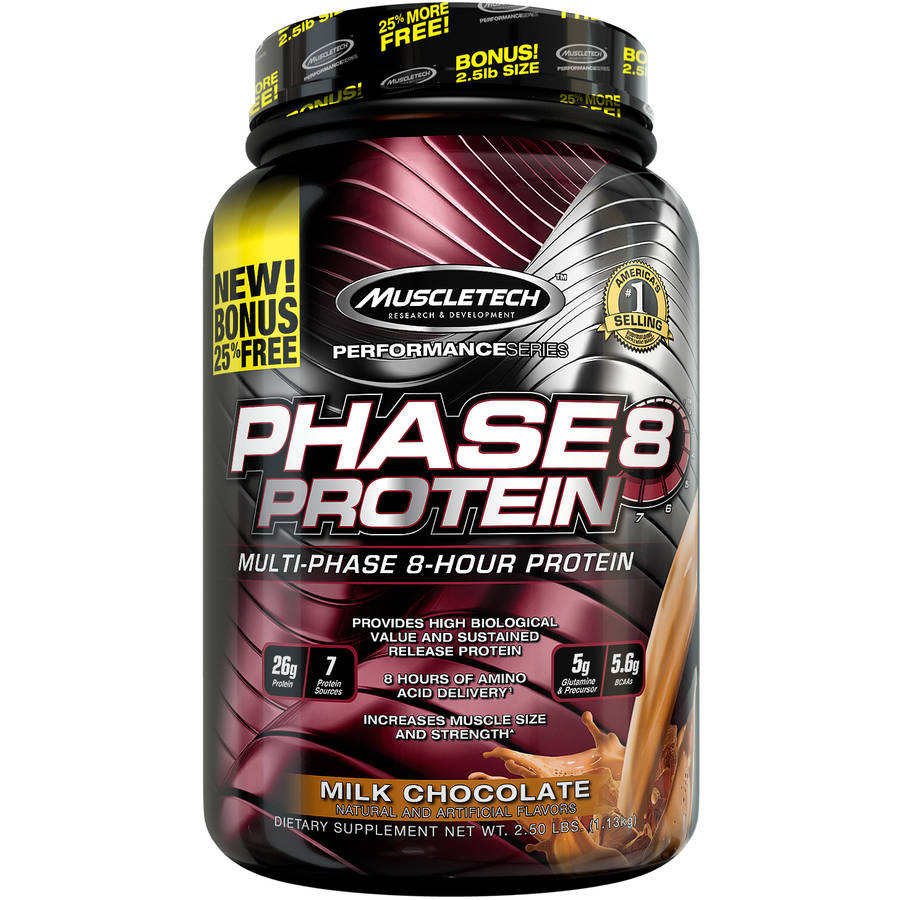 MuscleTech Performance Series Phase8 Protein Milk Chocolate Dietary Supplement, 2.5 lbs