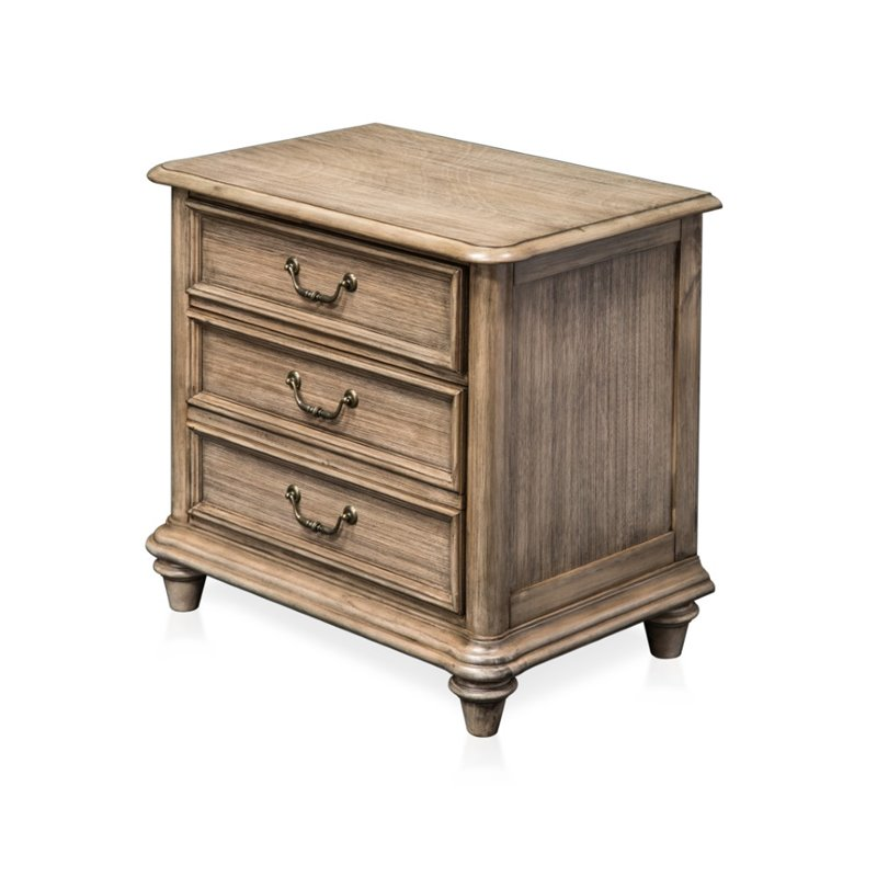 Furniture of America Bartrand 3 Drawer Nightstand in Castle Gray
