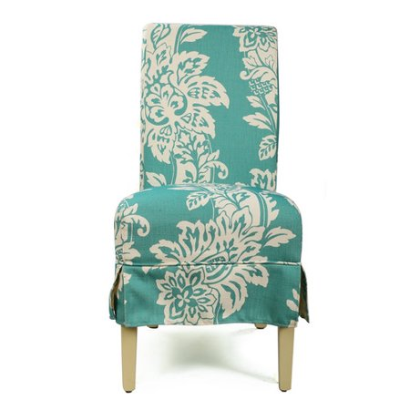 Adeco Trading Blue Fabric Upholstery Dining Chairs Skirt