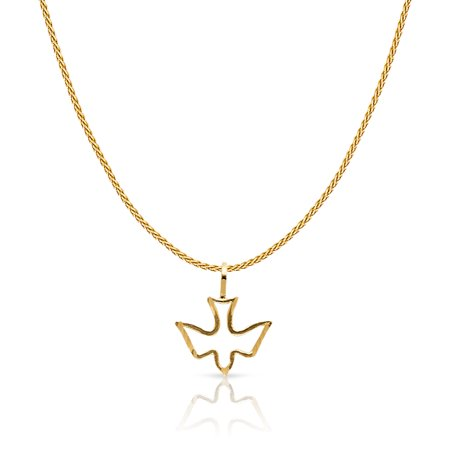 - 14K Yellow Solid Gold Holy Spirit Dove Charm Pendant with 0.9mm Wheat Chain Necklace
