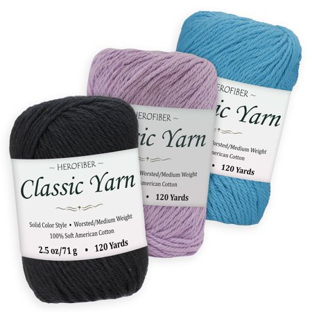 Cotton Yarn - 3 Solid Colors [2.5 oz Each] | Black + Lavender + Caribbean Blue | Worsted/Medium Weight - Assortment for Knitting, Crochet, Needlework, Decor, Arts & Crafts Projects - Caribbean Blue Color