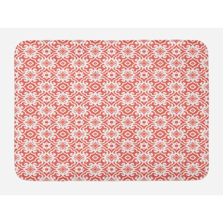 Coral Bath Mat, Geometric Art Deco Pattern with Lacing Shapes 30s Style Vintage Motifs, Non-Slip Plush Mat Bathroom Kitchen Laundry Room Decor, 29.5 X 17.5 Inches, Coral Pale Coral White, Ambesonne