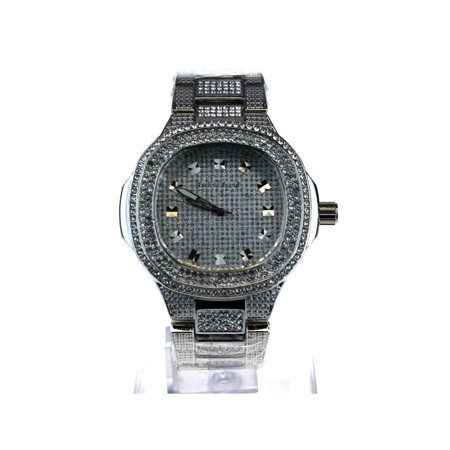 Bling Watch (Mens Luxury Bling Iced Out Round Gangster Metal Analog Wrist Watch All Silver)