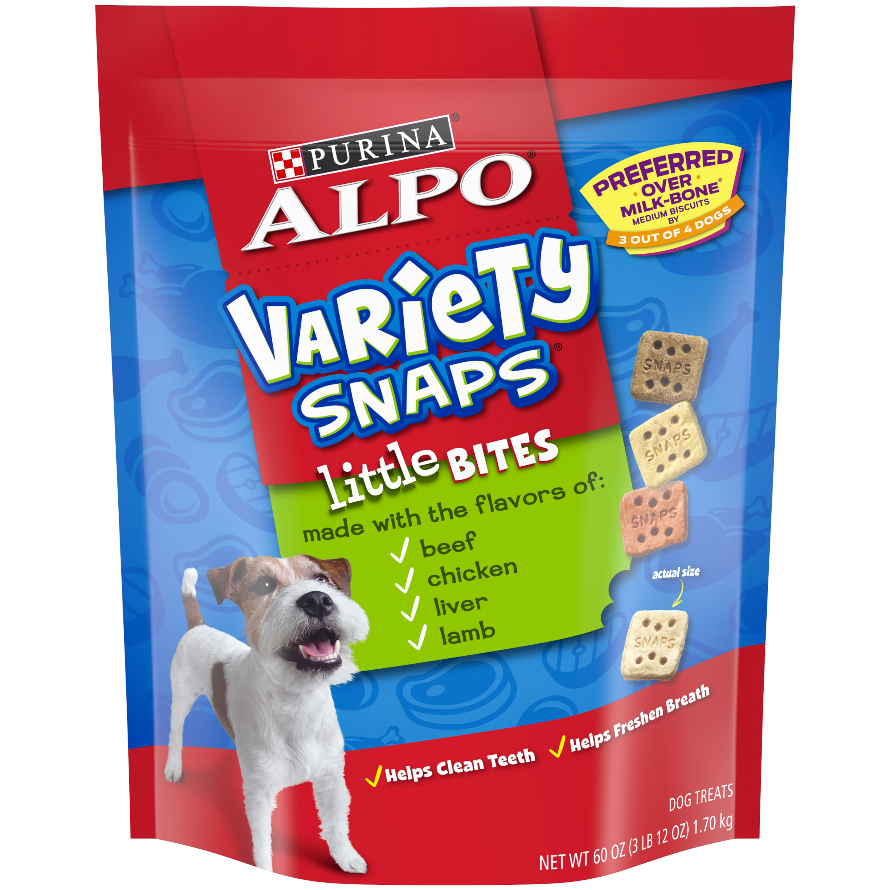 Purina ALPO Variety Snaps Little Bites Dog Treats With Beef Chicken Liver & Lamb Flavors Dog Treats - 60 oz. Pouch