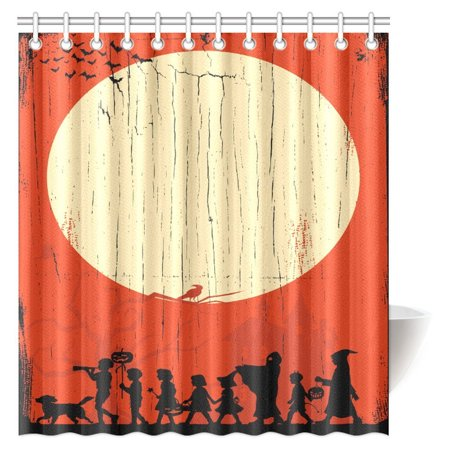 MYPOP Halloween Decorations Shower Curtain, Silhouette of Children Going Trick or Treating on a Wooden Board Fabric Bathroom Shower Curtain with Hooks, 66 X 72 Inches](Going Trick Or Treating Before Halloween)